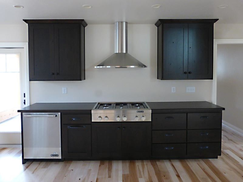 Kitchen cabinets with built in stove