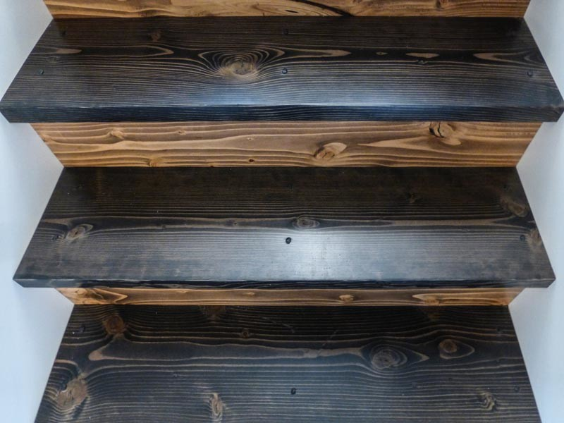 Stairway with multiple colored wood grains