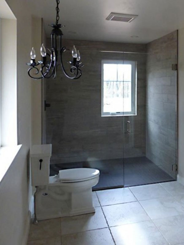 Bathroom with floor to ceiling shower