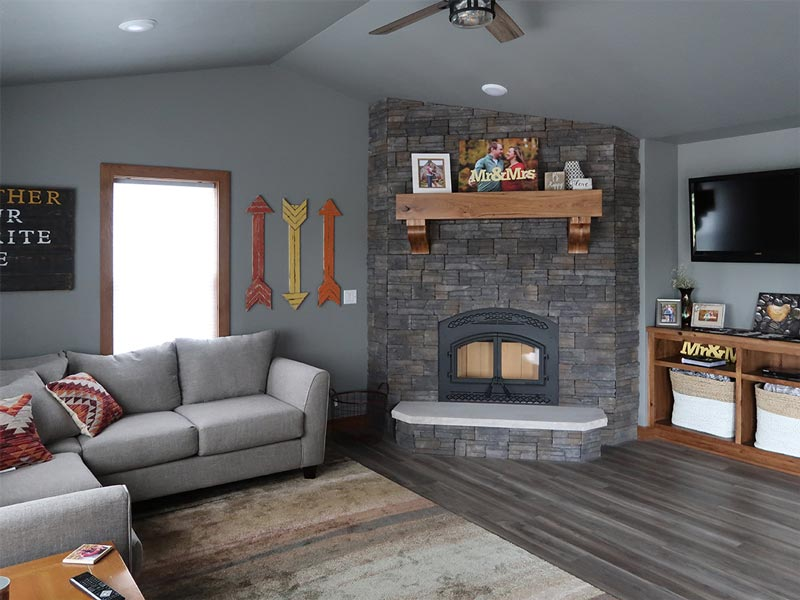 Cozy living area with fireplace