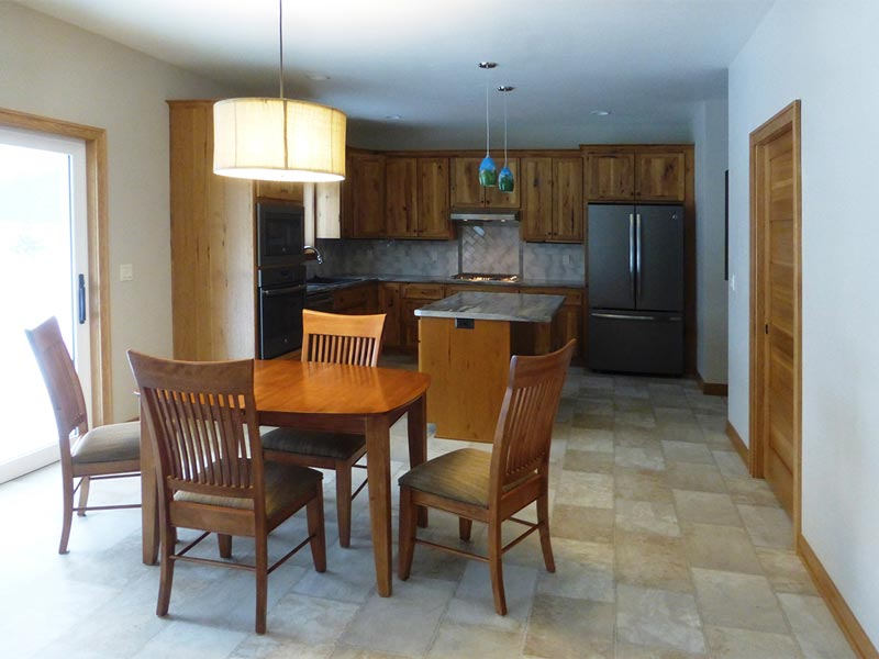 Kitchen and dining with island