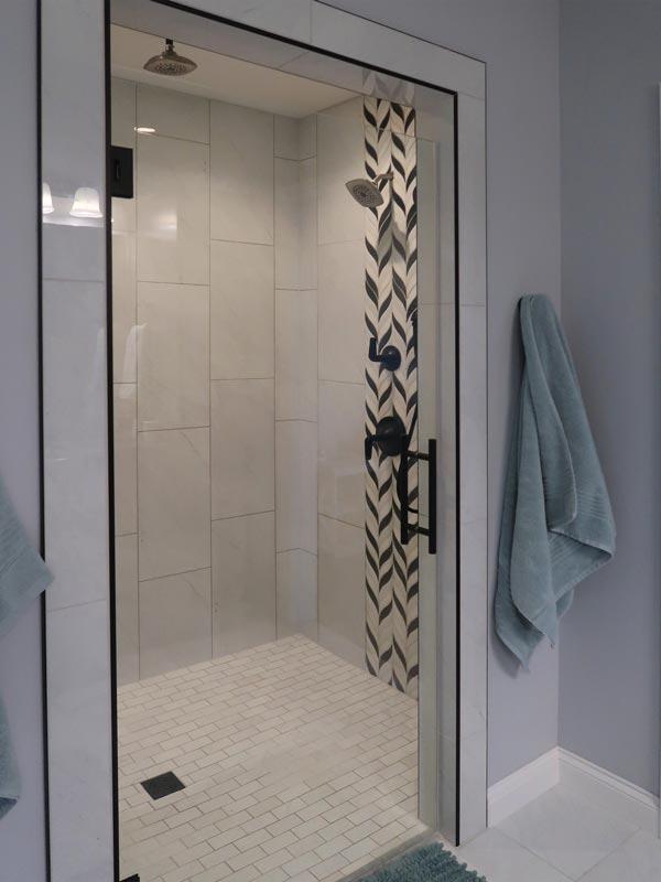 Bathroom with walk-in tile shower