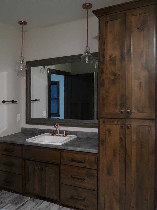 Bathroom vanity with custom cabinets